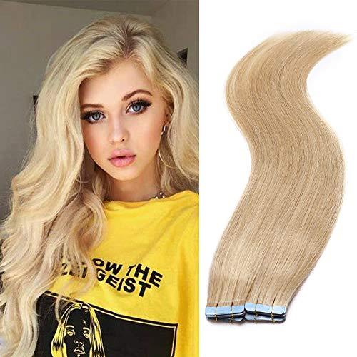 """20 PCS Extension Adhésive Bande Adhésive 2g/pcs Cheveux Humain Naturel Mèche Rajout Cheveux 12"""" Pouces,#24 Blond Naturel"""