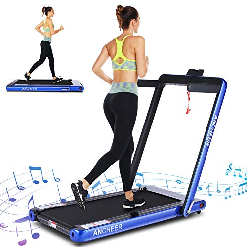 ANCHEER 2 in 1 Smart Folding Treadmill, 2.25HP Under Desk Treadmill, Electric Portable Space Saving Fitness Motorized Walking Running Machine with Bluetooth Audio Speakers (Blue)