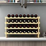 SogesHome Estante de Vino Modular apilable de 4 Niveles y 32 Botellas Estante de exhibición de Vino de Madera, Estante de Almacenamiento de Vino Independiente y sobre encimera, SH-BY-WS4832M