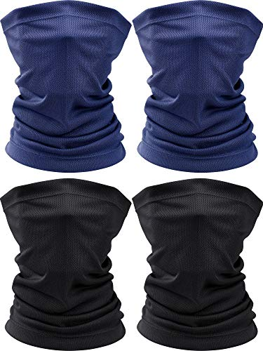 4 Pieces Summer Face Scarf Mask Dust Sun Protection Thin Breathable Neck Gaiter Windproof (Black, Navy)