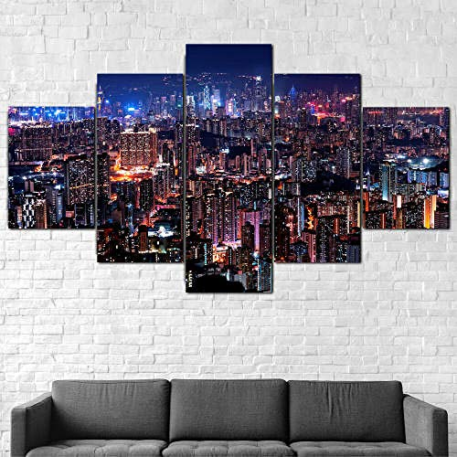 5 Piezas Cuadro Sobre Lienzo De Fotos Ciudad De Luces Nocturnas De Hong Kong Lienzo Impresión Cuadros Decoracion Salon Grandes Cuadros Para Dormitorios Modernos Mural Pared 5 Partes Carteles Regalo