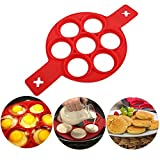 Pancake make Pancake mold Silicone cake mould Reusable Silicone Omelette Mold(Red)