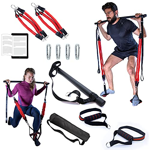 Pilates bar kit with resistance bands - Resistance bands with bar - Heavy resistance pilates bar kit for portable home workout equipment women - Pilates equipment men - Home exercise equipment women