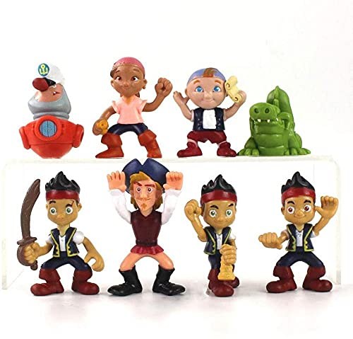 VNNY 8 unids / Set Jake y Neverland Pirates Figuras de acción Izzy Girl Cubby Boy Capitán Flynn Tick Tock Cocodrilo Modelo Marino Juguetes