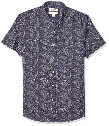 Goodthreads Amazon Brand, Camisa de Lino y algodón de Manga Corta para Hombre, Estampado Cisne, Medium