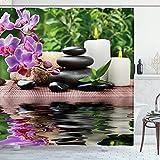 Ambsunny Spa - Cortina de ducha con flores de orquídea, piedra de masaje, aceite de hierbas y velas aromáticas, diseño de hojas de naturaleza tranquila, tela de tela, juego de decoración de baño con 12 ganchos de 60 x 71 pulgadas, color negro y morado