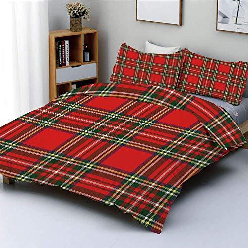 Juego de funda nórdica, inspirado en la cultura occidental europea Motivo de tartán abstracto Diseño clásico vintage Juego de cama decorativo de 3 piezas con 2 fundas de almohada, multicolor, el mejor