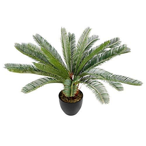hjh OFFICE Kunstpflanze Cycas Palme Höhe 70 cm Grün 24 Palmwedel Kunstpalme klein Cycaspalme Palmfarn künstlich, 871004