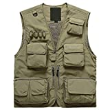 Memoryee Men's Work Multi-Pockets Lightweight Outdoor Travel Fishing Vest Breathable Waistcoat Jackets/Khaki/S
