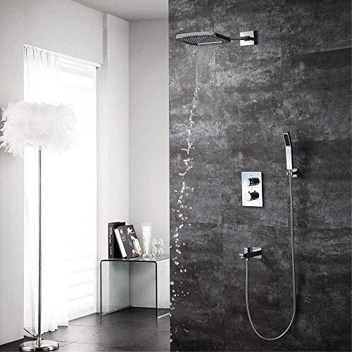 CLJ-LJ Dentro de la pared oculta termostático de Baño juego de ducha de cobre de 3 funciones 200 * 250 mm Cascada superior cuadrada spray sistema sobrealimentado ducha de mano con el grifo hermoso prá