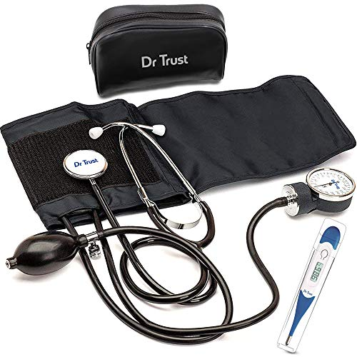 Dr Trust (USA) Sphygmomanometer Aneroid Type Manual Blood pressure monitor with stethoscope includes digital thermometer