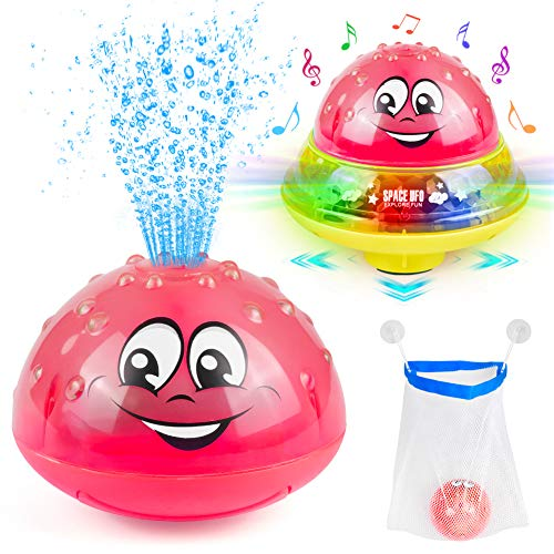 Sinoeem 2 in 1 Wassersprühspielzeug Spielzeug Automatische Induktions Sprinkler Kinder Schwimmende Badespielzeug mit Musik und Blinklicht FüR Babys Kleinkinder Kinder-Party (Rosa)