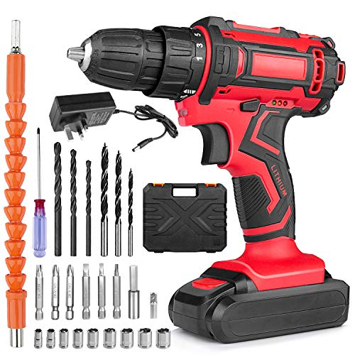 Cordless Drill Driver, Gvoo 36V Rechargeable Electric Screwdriver Set Household Tools with LED Light 25 PCS Accessories, 40N.M Max 25+1 Torque with High/Low Dual Speed