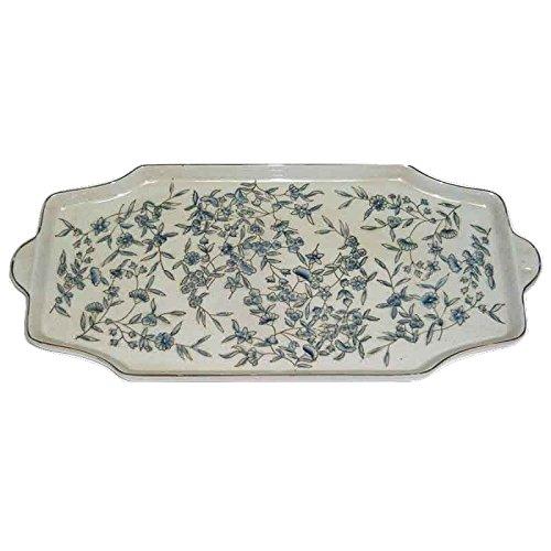 Better & Best 1394290 Plateau à Cake en Porcelaine décorée de Fleurs Bleues