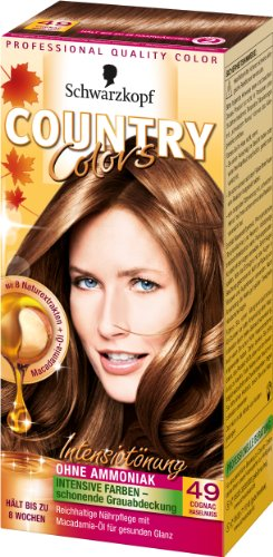 SCHWARZKOPF COUNTRY COLORS Intensiv-Tönung 49 Cognac Haselnuss, Stufe 2, 3er Pack (3 x 123 ml)