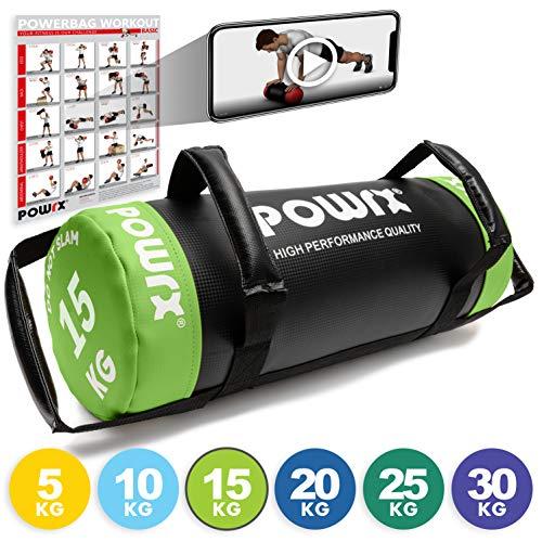 POWRX - Sandbag 5 kg, 10 kg, 15 kg, 20 kg, 25 kg, 30 kg - Perfetta per Migliorare Equilibrio, Forza, flessibilità, coordinazione e circolazione - Power Bag (15 kg/Verde Chiaro)