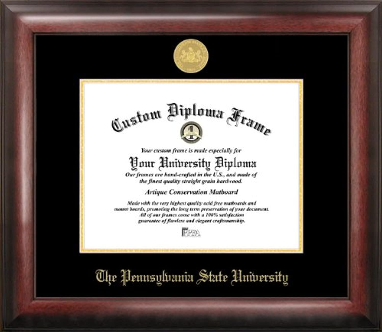 Campus Images PA994GED Penn State University Embossed Diploma Frame, 8.5  x 11 , gold