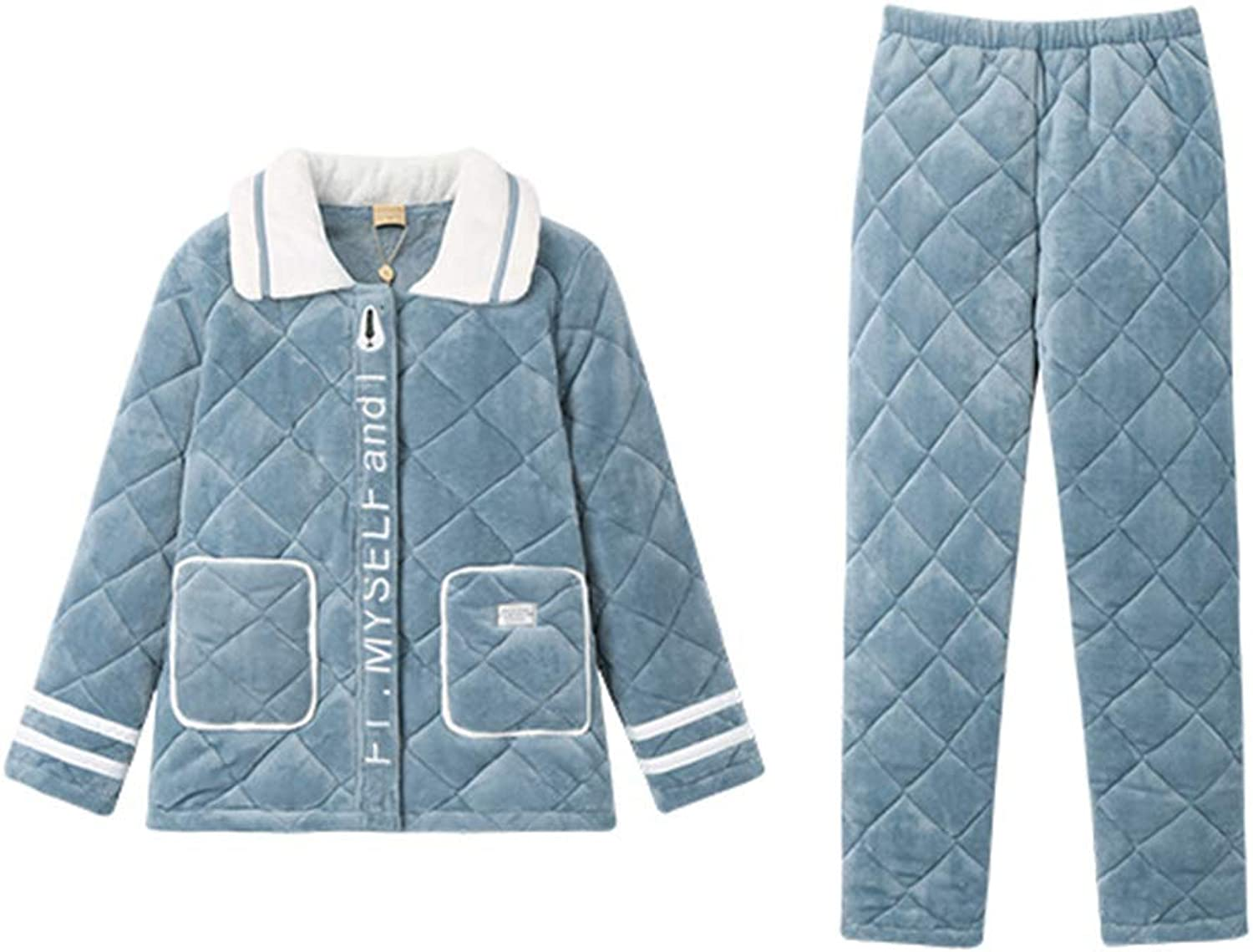Pajamas Women's Winter Coral Velvet Quilted Cute ThreeLayer Thickening can be Worn Outside Home Service Suit (color   bluee, Size   L)