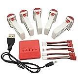 Fytoo Accessori Batterie 5pcs 3.7V 500mAh Lipo e Caricabatterie 5in1 per SYMA...