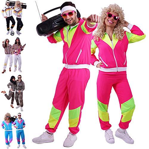 FetteParty - 80er & 90er Jahre Trainingsanzug - Retro Jogginganzug - Assi Kostüm - Mottoparty Outfit für Damen und Herren ( Unisex ) Vintage Sportanzug Neonfarben - für Karneval Fasching Autodisco …