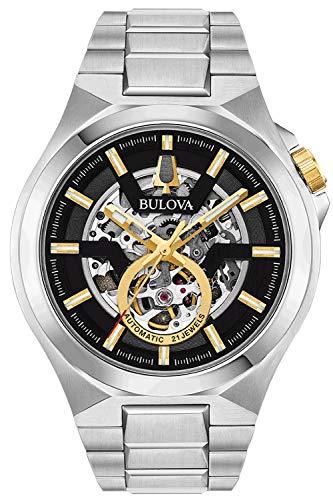 Bulova Herren Analog Automatisch Uhr mit Edelstahl Armband 98A224
