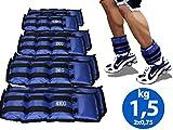 Lupex Shop Coppia di Pesi per Caviglie e Polsi da 0,5 a 6kg, Sacchetto di Sabbia, Regolabili con Strappo in Velcro, per Allenamento Palestra, Running, Fitness (0.5)