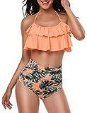 Heat Move Women Retro Flounce High Waisted Bikini Halter Neck Two Piece Swimsuit (Orange, S)