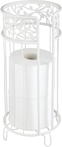 mDesign Decorative Free Standing Toilet Paper Holder Stand with Storage for 3 Rolls of Toilet Tissue - for Bathroom/P...