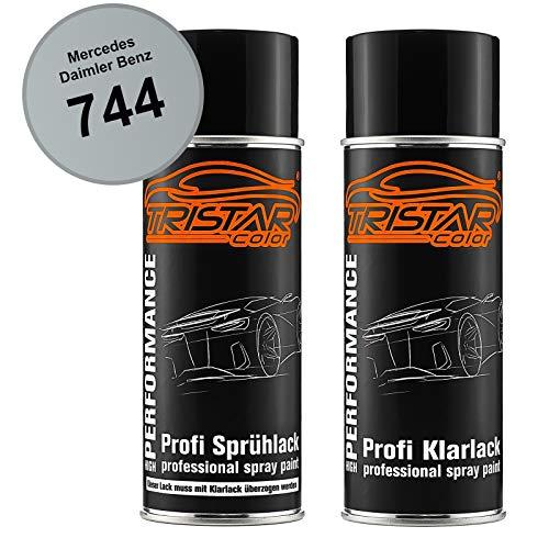 TRISTARcolor Autolack Spraydosen Set für Mercedes/Daimler Benz 744 Brillantsilber Metallic Basislack Klarlack Sprühdose 400ml