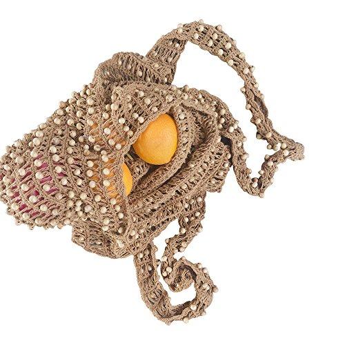 LUZAL Houten kralentas, houten kralen handtas, parels boho tas, shopper, The Beaded bag, handgemaakt, gemaakt van katoen en houten kralen,