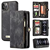 Zttopo Wallet case Compatible with iPhone 12 Pro Max, 2 in 1 Leather Zipper Detachable Magnetic 11 Card Slots Card Slots Money Pocket Cover with Screen Protector Case Wallet 6.7 Inch (Black-Grey)