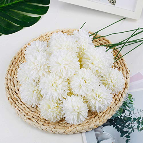 Weiße künstliche Blume Hortensie 25 Stück, langer Stiel gefälschte Blume Tischtennis Chrysanthemenschaum Brauthochzeitsstrauß, realistische Blütenblume für Hausgartenparty Hotel Office Decor