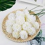 Silk Flower Arrangements Artificial Flowers, 25Pcs Silk Chrysanthemum Ball White Bouquets Hydrangea for Wedding Bridesmaid Lifelike Fake Flowers HomeDecor DIY PartyWhite