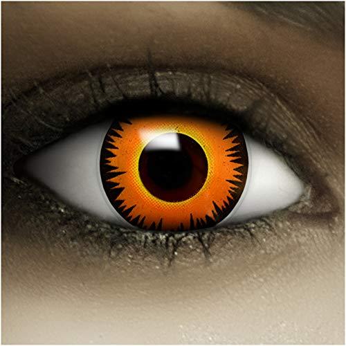 Farbige Kontaktlinsen ohne Stärke Löwe + Kunstblut Kapseln + Kontaktlinsenbehälter, weich ohne Sehstaerke in orange, 1 Paar Linsen (2 Stück)