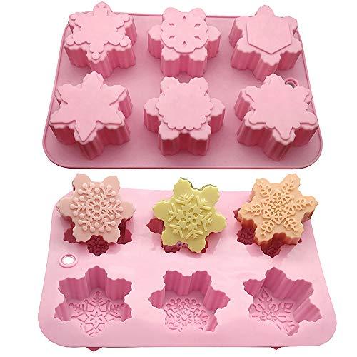 YOMOMO Bricolage 6 Types de moules à gâteaux en Silicone avec 6 Treillis et Formes différentes Fournitures de Cuisine Petits appareils moules à gâteaux Rose enfantins (Rose)