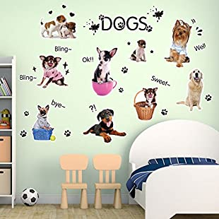 Wallpark Cartoon Cute Little Dogs Footprints Removable Wall Sticker Decal, Children Kids Baby Home Room Nursery DIY Decorative Adhesive Art Wall Mural
