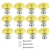 TooTaci 12 x 30 mm Glas-Knöpfe für Schubladen, Kristall-Türgriffe, Diamant-Zuggriffe mit Schrauben für Zuhause, Küche, Büro, Kommode, Schrank, Schublade (gelb)
