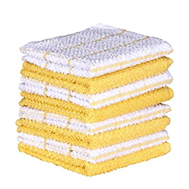 Terry Kitchen Dishcloth Set of 8 (1 2 x 12 Inches), Yellow, 100% Cotton, Highly Absorbent, Machine Washable By CASA DECORS