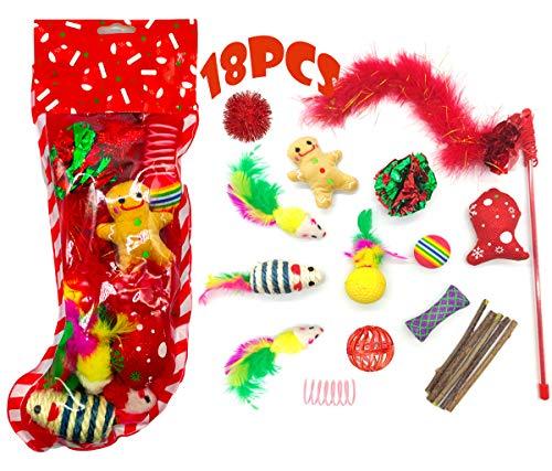 MQIAN 18pcs Weihnachten Katzenspielzeug Set,Katze Toys,Katzen Interaktives Spielzeug,Katzenteaserstab Plüschspielzeug Katzenspielzeug Bälle Set Spielzeug für Katzen