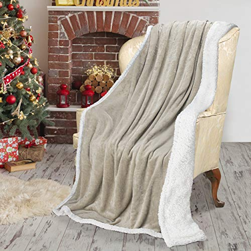 Catalonia Classy Sherpa Fleece Blanket, Reversible Throw Large for Sofa Bed, Super Soft All Season Comfort Caring Gift, 150 x 200 cm, Camel