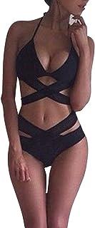 cdca904d1476 Quge Traje de Baño Mujer Conjunto de Bikini Tiras Cruzadas Calado Bañador  de Playa