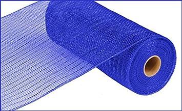 Wide Foil Deco Poly Mesh Ribbon, 10 Inches x 30 Feet (Royal Blue, Blue Foil)
