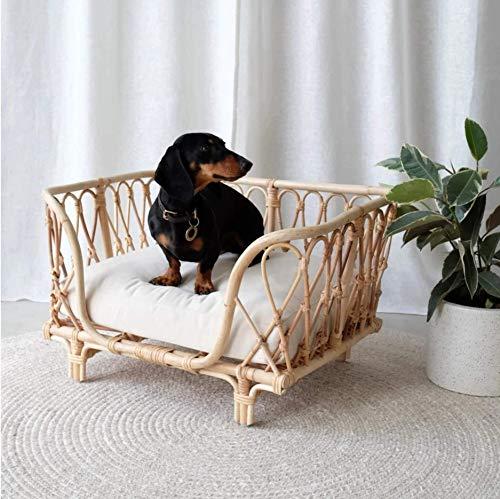 70 x 70 x 42 cm, madera maciza de lujo, hecha a mano, ratán, cama de perro, cama de perro, cojín con almohadilla de esponja desmontable