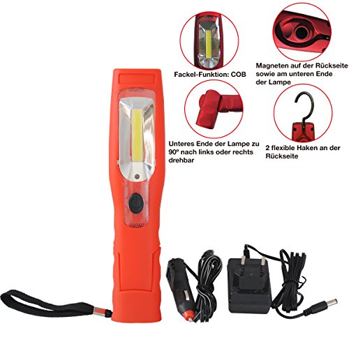 CCLIFE Akku 3W COB LED Arbeitsleuchte mit Magnet Aufladbare Werkstatt Inspektionslampe Taschenlampe | mit Haken Magnetfuß