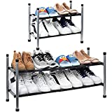 2-Tier Expandable Shoe Rack, Stackable and Adjustable Shoes Shelf Storage Organizer, Sturdy and Durable Metal Structure Free Standing Shoe Rack for Closet Entryway Doorway