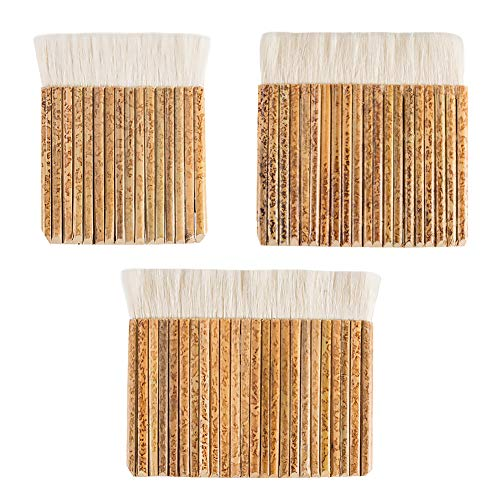 PandaHall 3 pinceles de pelo de oveja, 3 tamaños, mango de bambú, cepillo suave de lana, cepillo de látex para lavado en horno, acuarela, limpieza de polvo, cerámica, pintura de cerámica