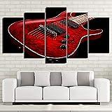 DOUYUAN Toile HD Impression Photo Mur Art Cadre 5 pièces de Musique Rouge Guitare électrique Peinture modulaire Affiche Salon décoration de la Maison Pas de Cadre