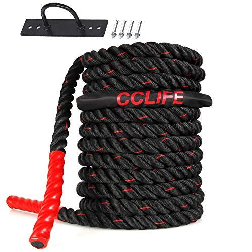 CCLIFE Cuerda de Batalla Entrenamiento Battle Rope Cuerda Batalla Crossfit 9m 12m 15m, Tamaño:12M Cuerda Batalla Negra con Roja