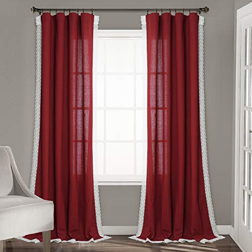 """Lush Decor Red Rosalie Window Curtains Farmhouse, Rustic Style Panel Set for Living, Dining Room, Bedroom (Pair), 84"""" x 54, 84"""" x 54"""""""