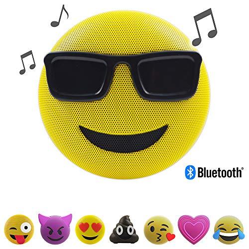 Jamoji Bluetooth Lautsprecherbox, Sunglasses, kabellose Lautsprecher mit integriertem Mikrofon, AUX-Anschluß, Micro-USB Anschluß, akkubetrieben mit 6 Stunden Laufzeit, Emoji, Smiley